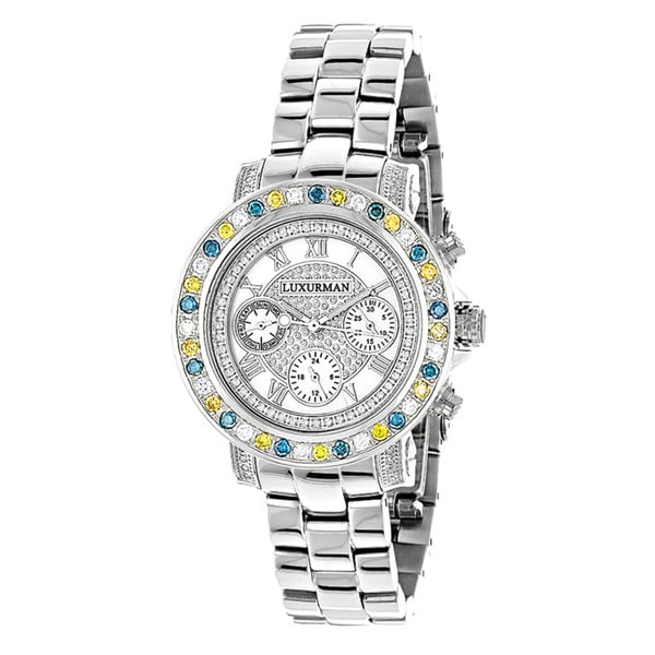 Luxurman Watches Ladies Color Diamond Watch 2.75ct