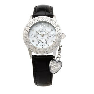 Luxurman Women's Diamond Heart Black Strap Watch