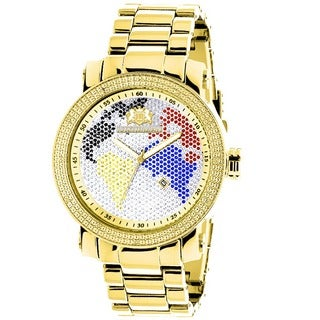 Luxurman World Map Men's 1/10ct Diamond Watch