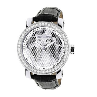Luxurman Men's Black/ White 4.5ct Diamond Watch