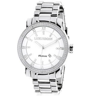 Luxurman Men's Diamond Stainless Steel Japanese Quartz Watch