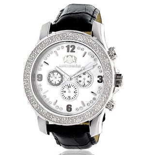 Luxurman Men's 1/4ct White Mother of Pearl Dial Diamond Watch