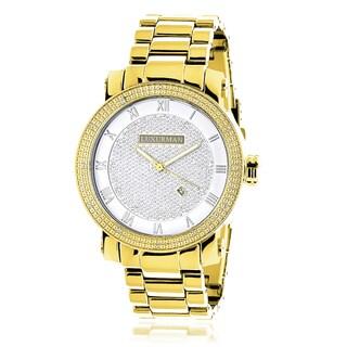 Luxurman 1/10ct Men's Stainless Steel Diamond Watch