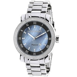Luxurman Men's Diamond Blue Mother of Pearl Watch