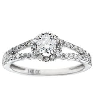 14k White Gold 3/4ct TDW Round-Cut Diamond Halo Engagement Ring (G-H, I1)