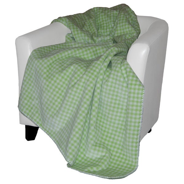 Denali Gingham Light Green Throw