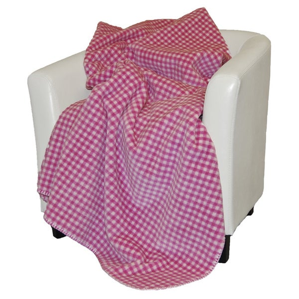 Denali Light Pink and White Gingham Throw Blanket