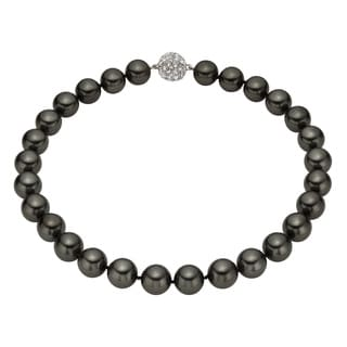 Pearlyta Sterling Silver Round Black Shell Pearl Necklace