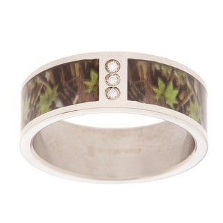 Stainless Steel Green and Brown Camo and Diamond Accent Band