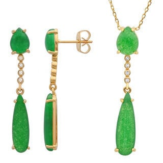 Sterling Essentials Gold Plated Silver Green Jade and CZ Drop Necklace and Earring Set