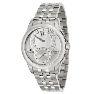 Perrelet Men's 'Specialties Jumping Hour' Stainless Steel Bracelet Silver Dial Watch