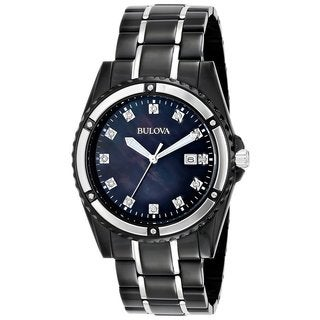 Bulova Men's 98D107 Marine Star Black Watch with Black Mother-Of-Pearl Dial