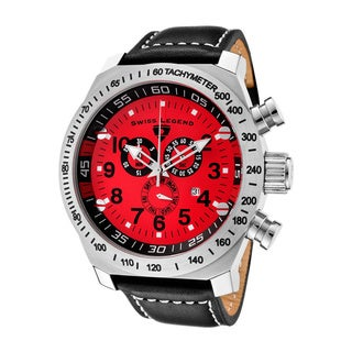 Swiss Legend Men's SL Pilot Chronograph Red Dial Black Leather Watch
