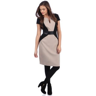 London Times Women's Tan/ Black Two-tone Sheath Dress
