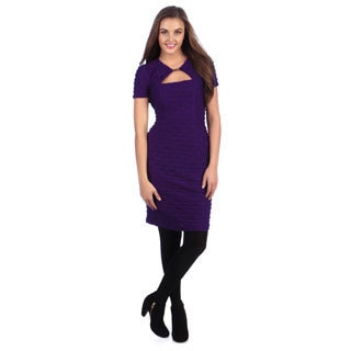 London Times Women's Plum Keyhole Texture-knit Sheath Dress