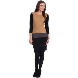 London Times Women's Tan Colorblocked Sweater Dress