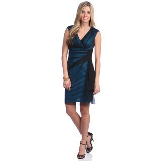 London Times Women's Turquoise Side Ruched Sheath Dress