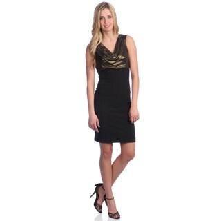 London Times Women's Sleeveless Cowl Neck Sheath Dress