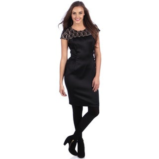 London Times Women's Black Lace Yoke Sheath Dress