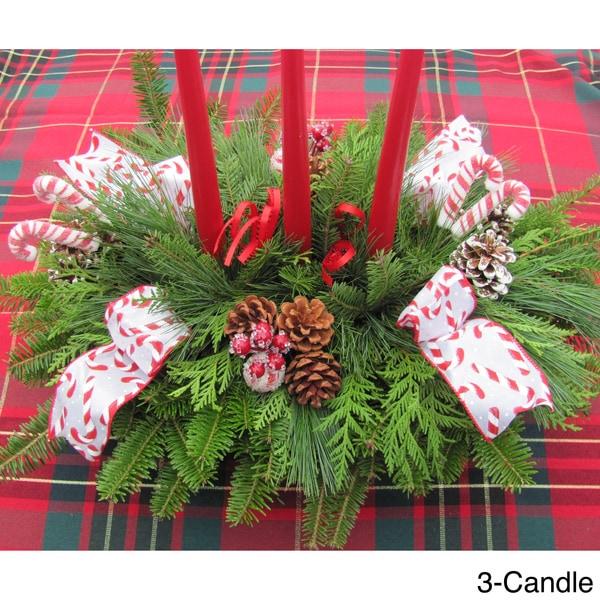 Fresh Balsam Candle Centerpiece CandyCane