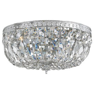 Richmond Flush Mount Chrome Finish 3-Light Lighting Fixture Hand Polished Crystal Accents