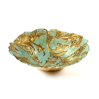 Vanessa Turquoise and Gold Centerpiece Bowl