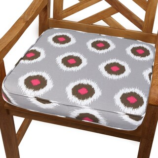 Ikat Pink Dot 20-inch Indoor/ Outdoor Corded Chair Cushion
