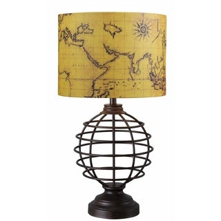 Cholet Map Print Shade Bronze Finish Table Lamp