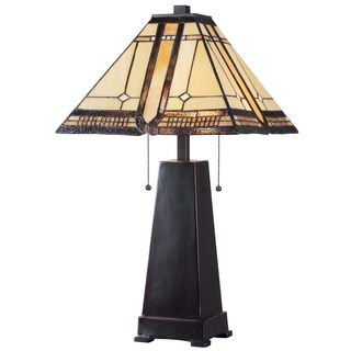 Avallon Colored Glass Shade Bronze Finish Table Lamp