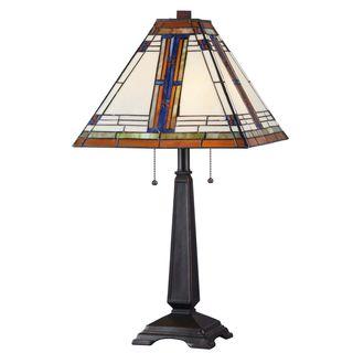 Judith Art Deco Tiffany Style Glass Shade Bronze Finish Table Lamp