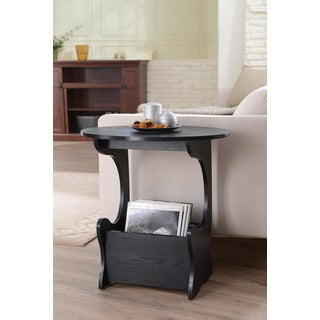 Furniture of America Wallaby Accent Magazine Rack Modern Black Side Table
