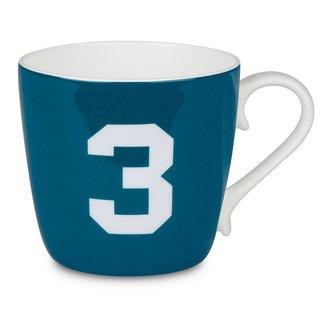 Konitz 'Number 3' Design Collectible Bone China Turquoise Blue Mug