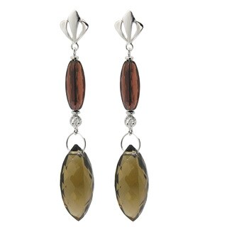 De Buman 10k White Gold Tea Quartz and Diamond Earrings (H-I, SI3)