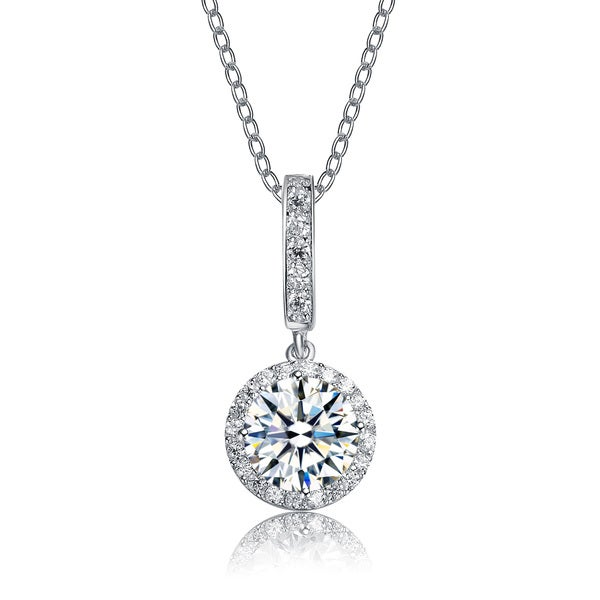 Collette Z Sterling Silver Round-cut Cubic Zirconia Dangle Necklace