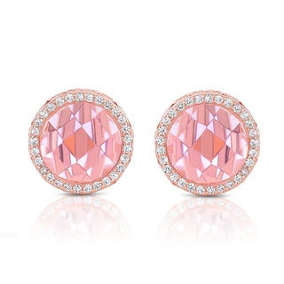 Collette Z Sterling Silver Pink Cubic Zirconia Rose Plated Round Earrings