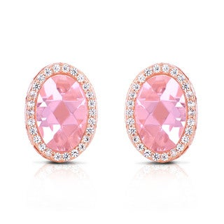 Collette Z Sterling Silver Pink Cubic Zirconia Rose Plated Oval Earrings