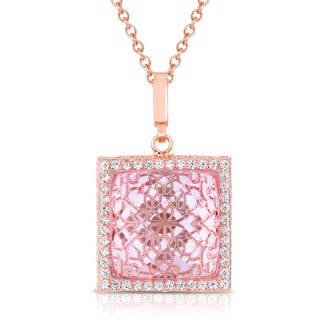 Collette Z Rose Plated Sterling Silver Pink Cubic Zirconia Square Necklace