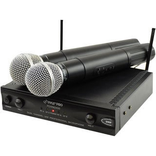 PylePro PDWM2400 Wireless Dual Channel UHF Microphone System With 2 Microphones (Refurbished)