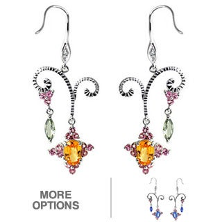 De Buman 10k White Gold Gemstone and Diamond Earrings (H-I, SI3)