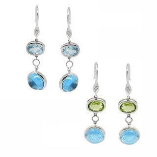 De Buman 10k White Gold Gemstone and Diamond Earrings (H-I, SI3)