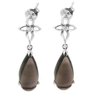 De Buman 10k White Gold Gemstone with Diamond Earrings (H-I, SI3)