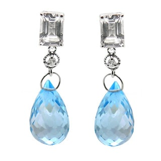 De Buman 10k White Gold Blue Topaz and Diamond Accent Earrings (H-I, SI3)