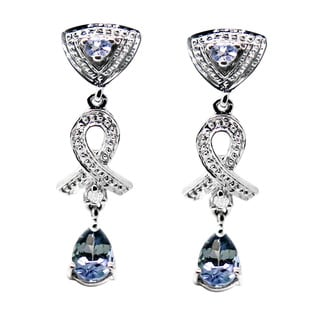 De Buman 10k White Gold Tanzanite and Diamond Accent Earrings (H-I, SI3)