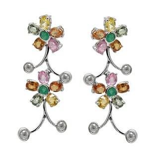 De Buman 8k White Gold Multi-colored Sapphire and 1/2ct TDW Diamond Earring (H-I, I1-I2)