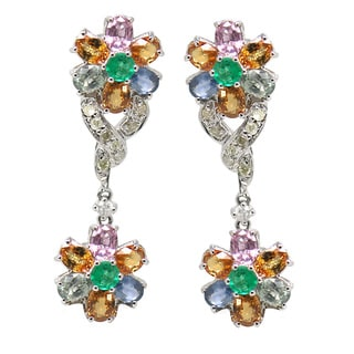 De Buman 8k White Gold Multi-colored Sapphire and 1/3ct TDW Diamond Earring (H-I, I1-I2)