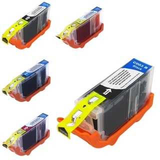 BasAcc 5-Ink Ink Cartridge Set Compatible with Canon BCI-3/ BCI-6BK