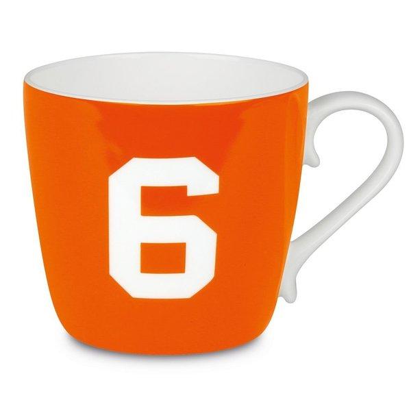 Konitz 'Number 6' Design Collectible Bone China Orange Mug