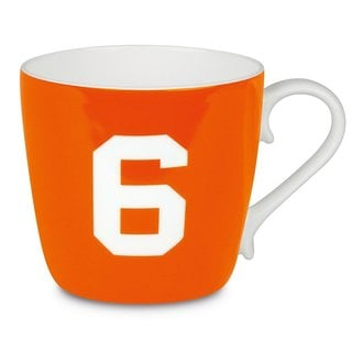 Konitz 'Number 6' Design Collectible Bone China Orange Mug