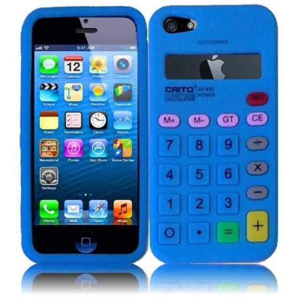 INSTEN Blue Calculator 3D Rubber Soft Silicone Soft Skin Gel Phone Case Cover for Apple iPhone 5/ 5S