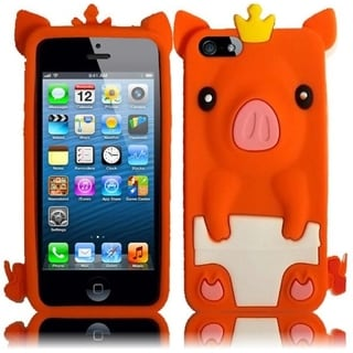 INSTEN Orange Pig 3D Rubber Soft Silicone Soft Skin Gel Phone Case Cover for Apple iPhone 5/ 5S